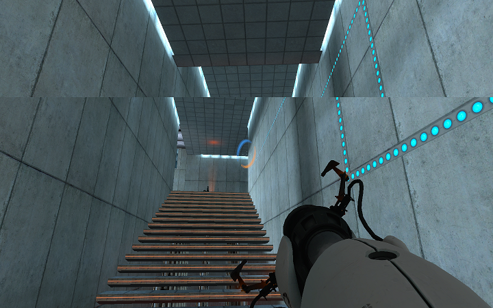 "Screen tearing in Valve's ""Portal"" video game – there is a distinct horizontal line, making this image look misaligned and broken. (Image Source: GitHub.com)"