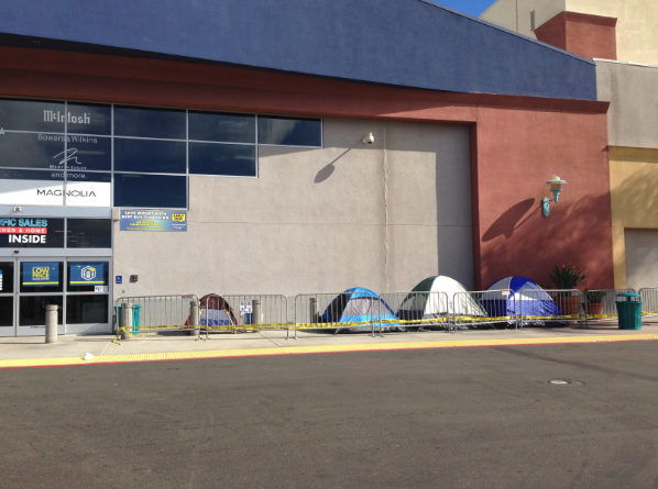 Tents out front of Best Buy.