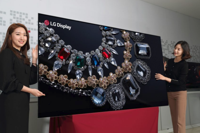 Press conference photo of 8K TV and spokesmodels