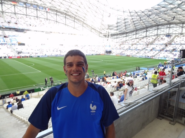 Michael ready to enjoy a professional soccer game in Marseille, France
