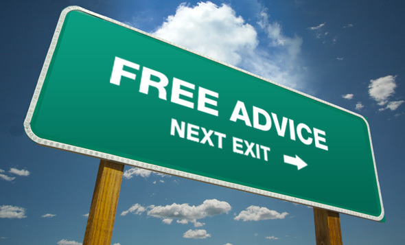 """Freeway sign with the text """"Free Advice Next Exit"""""""