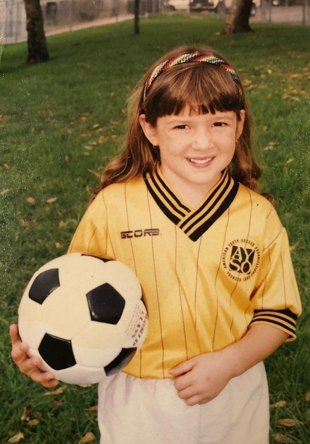 Tash playing soccer