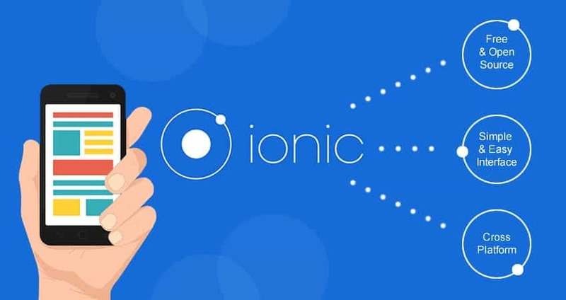 Mobile phone with the Ionic logo next to it with some blurbs.