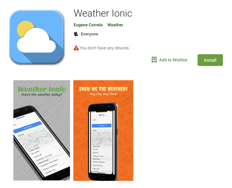Screen shot of the weather app created using Ionic published to the Google Play Store