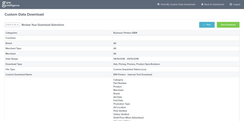 Gap Intelligence's new Custom Data Download tool