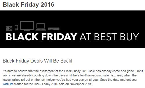 Best Buy 2016 Black Friday Online Landing Page