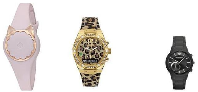 Kate Spade, Guess, and Giorgio Armani smart watches.