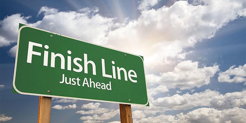 Finish line sign.