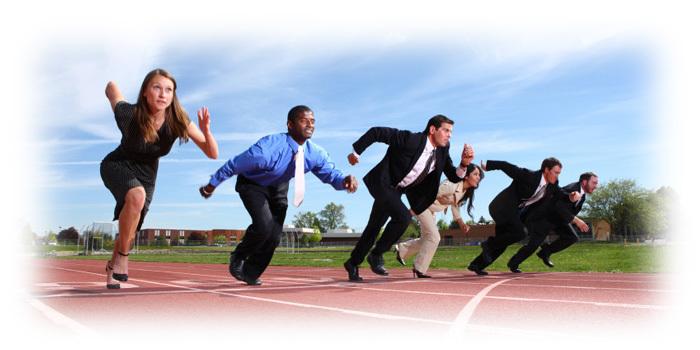 Employees Running