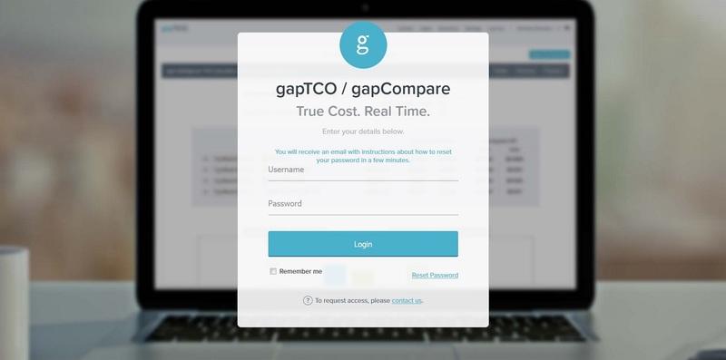 gapTCO and gapCompare login page.