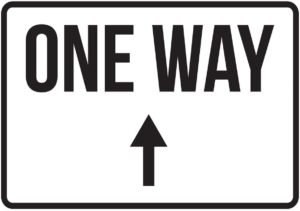 One way arrow pointing up