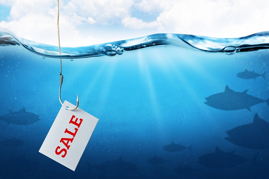 The inscription sale on the sheet as bait for buyers. Fishing hook with fish bait as symbol of deception. Blue underwater sea background.