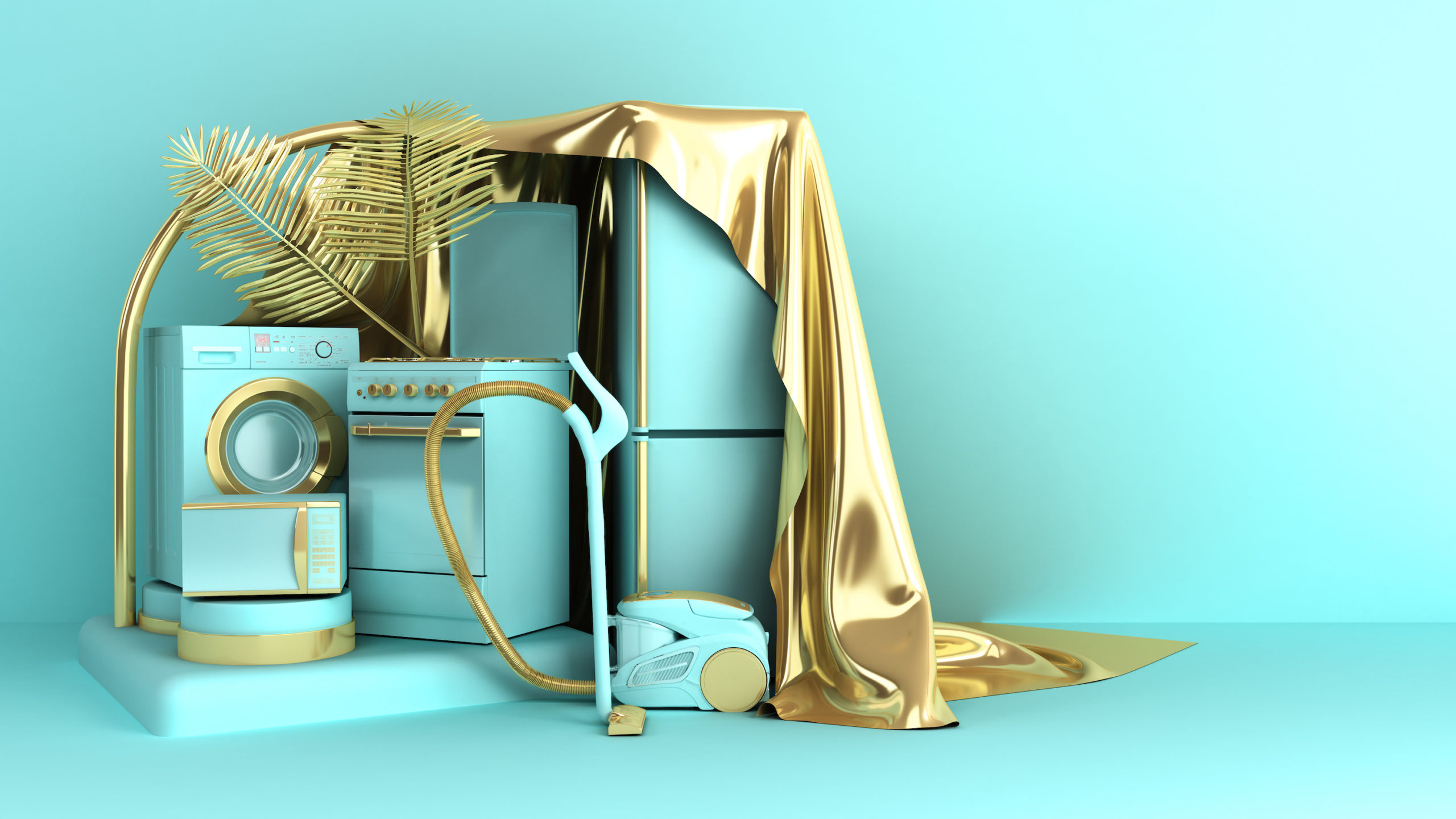 Minimal simple Home appliances background sales trade concept on pastel color background for copy space 3d rendering