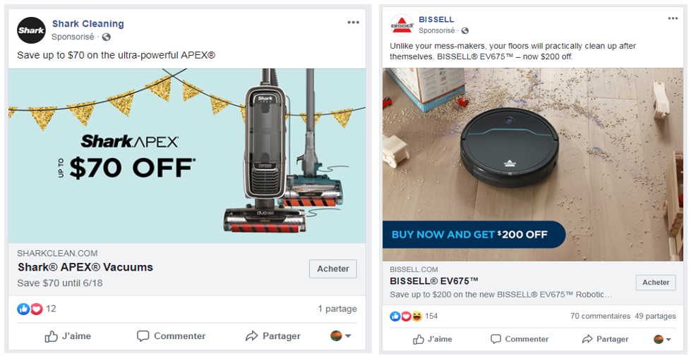 Sponsored ads for Shark and Bissell vacuum cleaners
