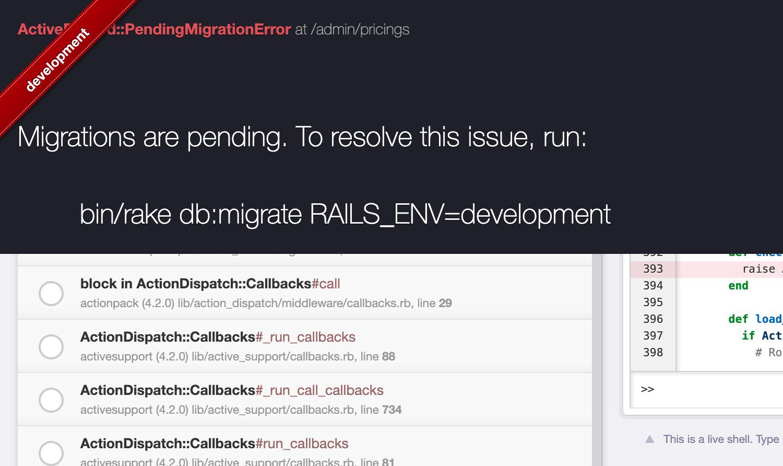 Migration Pending Error