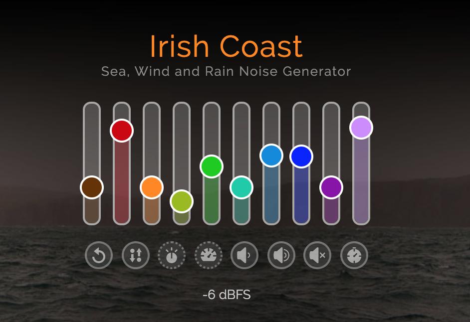 Irish Coast slider options for customizing Background Noise Generator from myNoise app