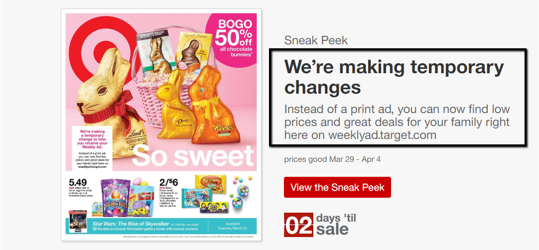 Target Ad Goes Online Only