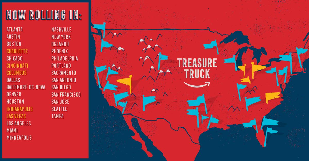 Amazon Treasure Truck cities