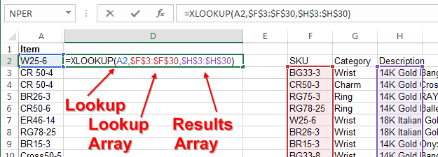 XLOOKUP Simple Result