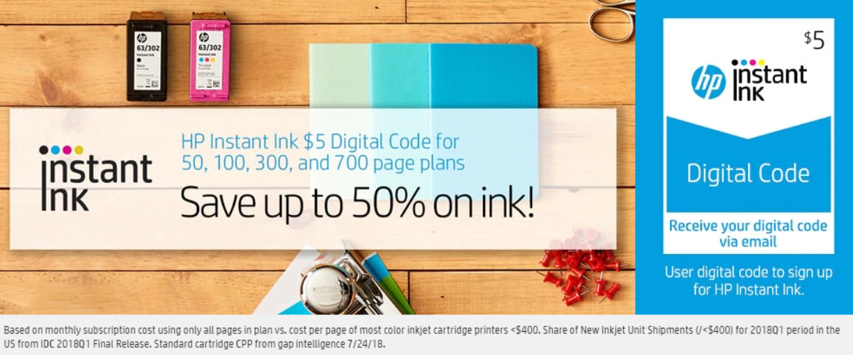 Save up to 50% on ink with Instant Ink.